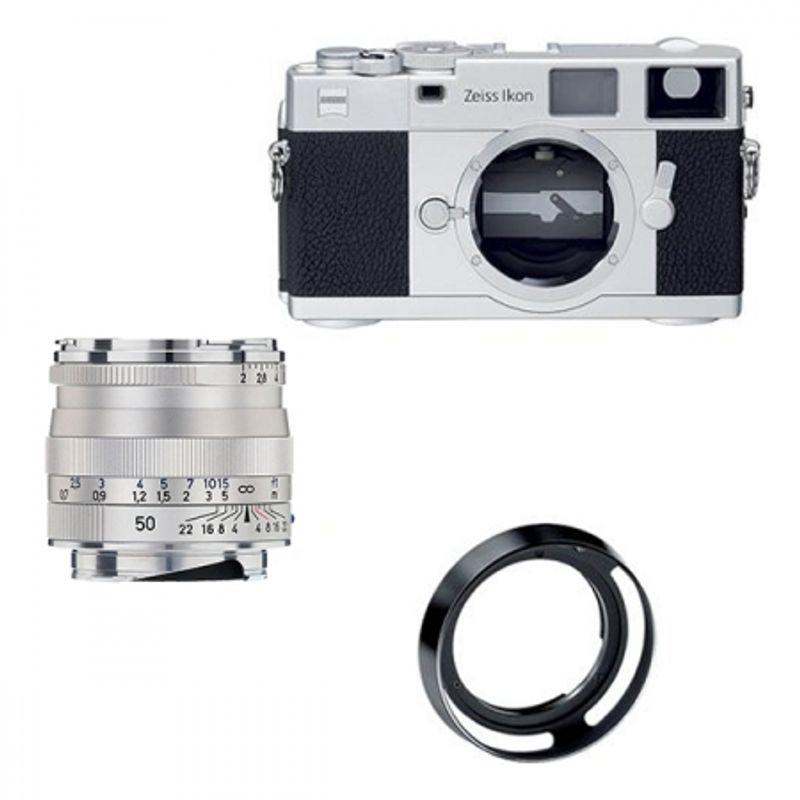 zeiss-ikon-argintiu-kit-zeiss-planar-t-50mm-f-2-zm-parasolar-cutie-piele-serie-limitata-13289