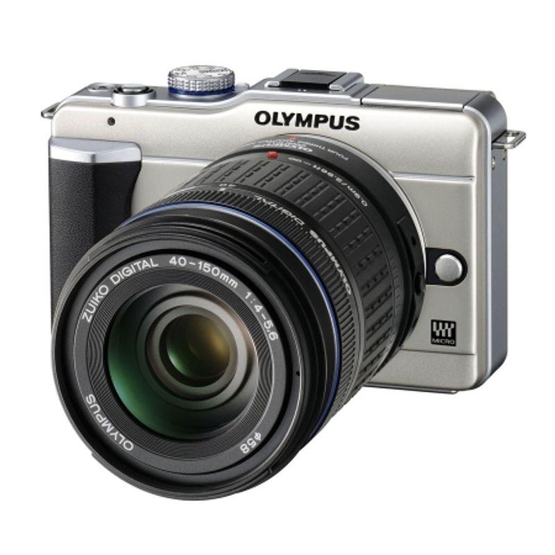 kit-olympus-pen-e-pl1-champagne-olympus-mft-zuiko-14-42mm-f-3-5-5-6-argintiu-olympus-zuiko-ed-40-150mm-f-4-5-6-negru-adaptor-olympus-mmf-2-12917-1