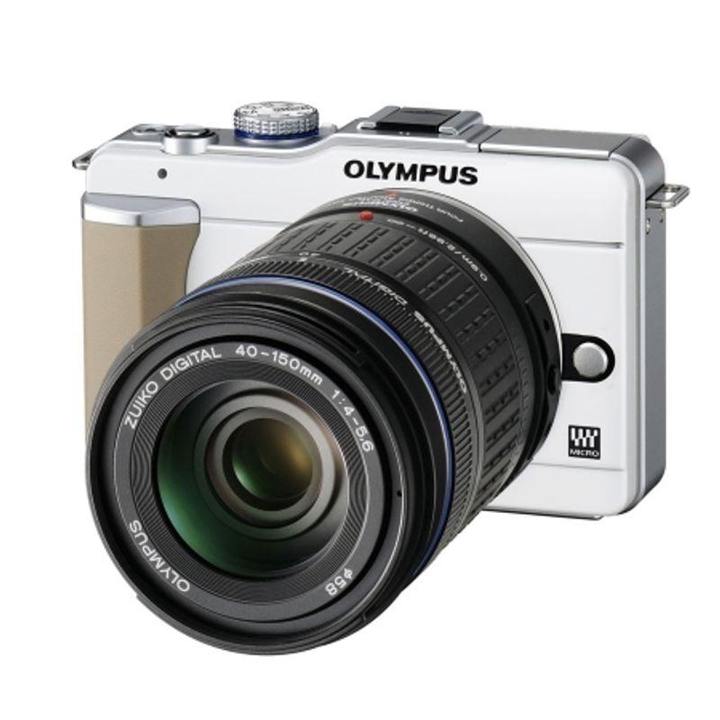 kit-olympus-pen-e-pl1-alb-olympus-mft-zuiko-14-42mm-f-3-5-5-6-argintiu-olympus-zuiko-ed-40-150mm-f-4-5-6-negru-adaptor-olympus-mmf-2-12919-1
