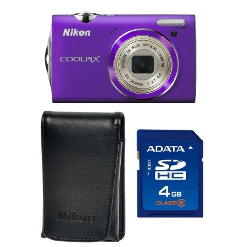 nikon-coolpix-s5100-violet-card-sd-4gb-husa-nikon-s-18164