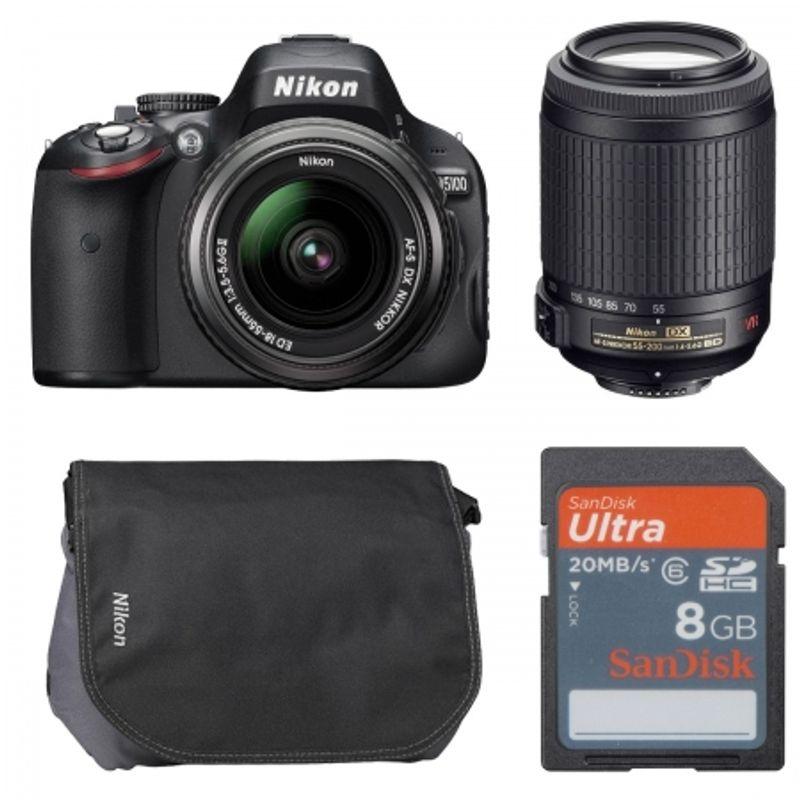 nikon-d5100-nikon-18-55mm-dx-fara-vr-nikon-55-200mm-vr-card-sdhc-8gb-ultra-ii-geanta-cf-eu05-21364