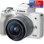Canon EOS M50 Aparat Foto Mirrorless 24MP APSC 4K Kit cu Obiectiv EF-M 15-45 F/3.5-6.3 IS STM Alb