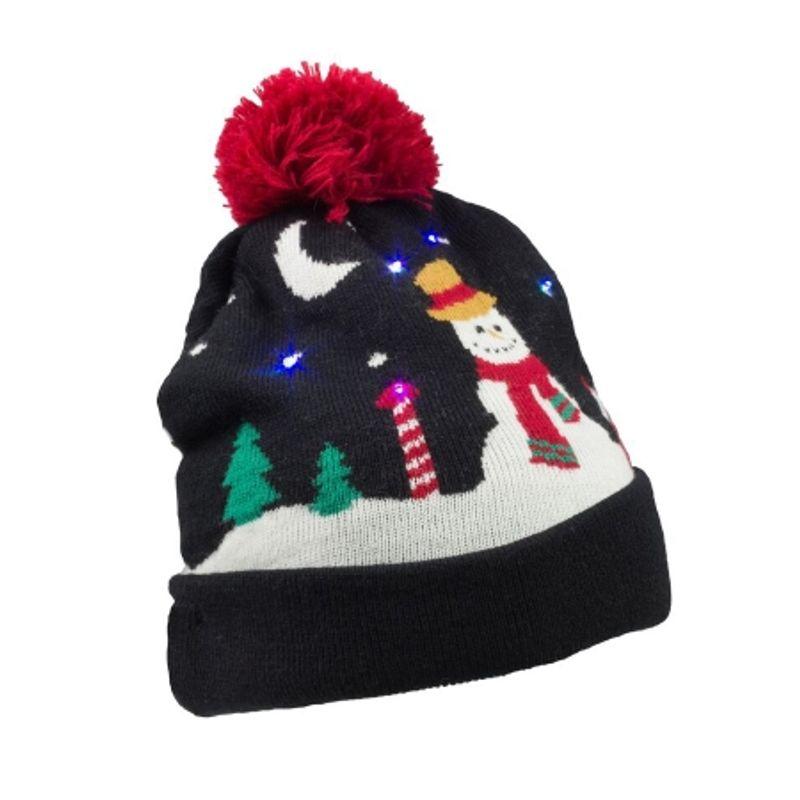 kitsound-caciula-cu-led-uri-colorate---snowman----negru-46633-824
