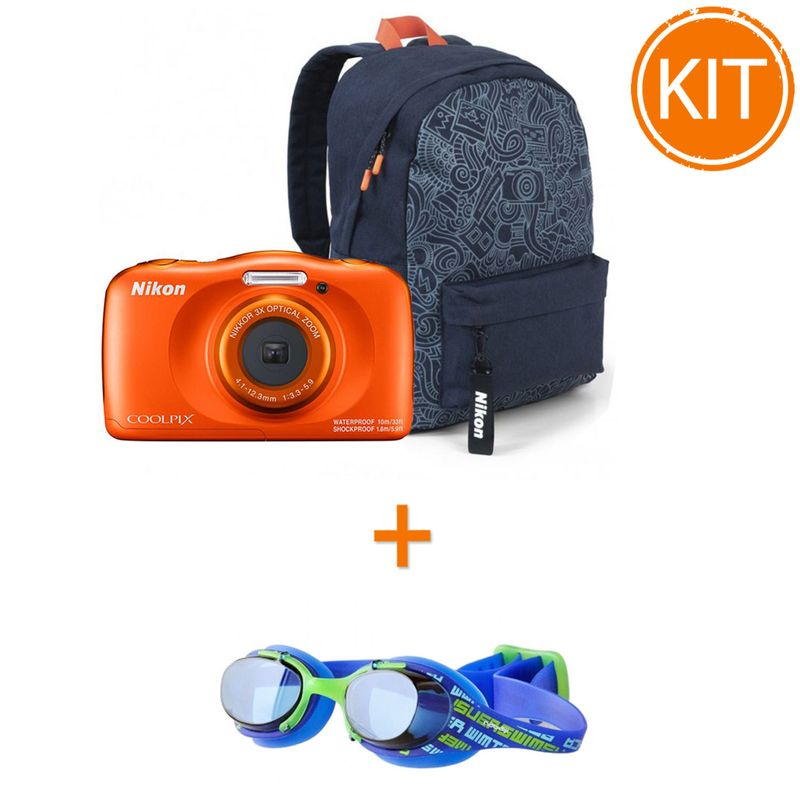 Kit-Nikon-Coolpix-W150-Aparat-Foto-Subacvatic-Orange---Ochelari-Inot-Nabaiji-XBase-JR