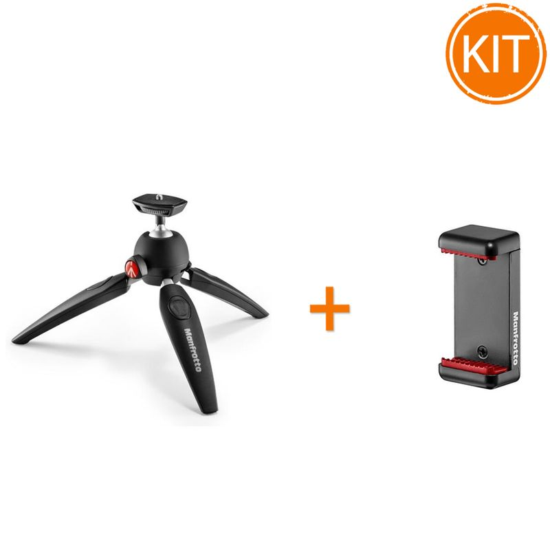 Kit-Vlogger-Manfrotto-Pixi-Evo-cu-Suport-Telefon