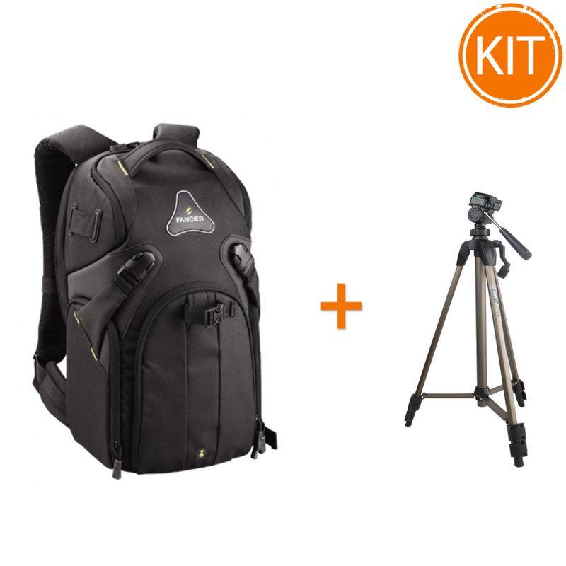 Kit-Fancier-Kingkong-I-20-WB-9063---Rucsac-Foto---Fancier-WT3710-Trepied-Traveller---Husa-Negru