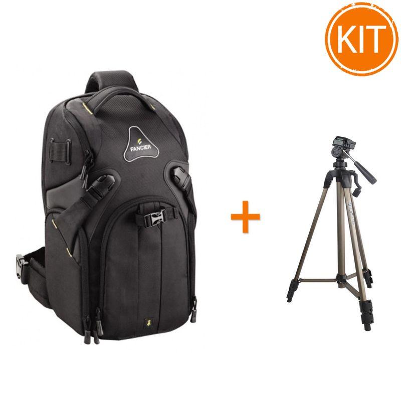 Kit-Fancier-Kingkong-I-10-Rucsac-Foto--WB-9062----Fancier-WT3710-Trepied-Traveller---husa-Negru