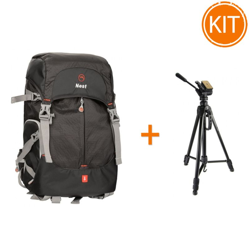 Kit-Nest-Explorer-300-L-Rucsac-Foto-Video-Negru---Fancier-WT3716-Trepied-foto-Video
