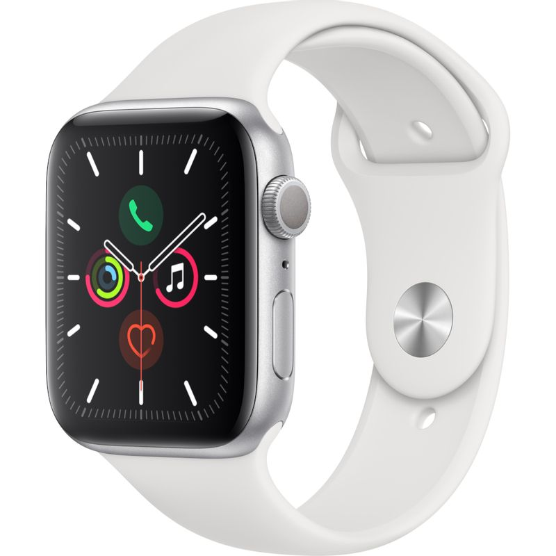 Apple-Watch-Series-5-GPS-44mm-Silver-Aluminium-Case-with-White-Sport-Band---SM---ML