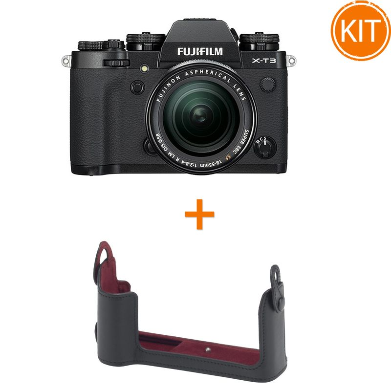 Kit-Fujifilm-X-T3-cu-Obiectiv-XF18-55mm-Negru---Fuji-BLC-XT3-Husa-pentru-X-T3