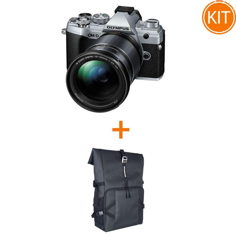 Kit-Olympus-OM-D-E-M5-Mark-III-Kit-cu-Obiectiv-12-200mm-F3.5-6.3-Argintiu-Negru---Cadou-Rucsac-Foto-Olympus-Everyday-Camera-Backpack