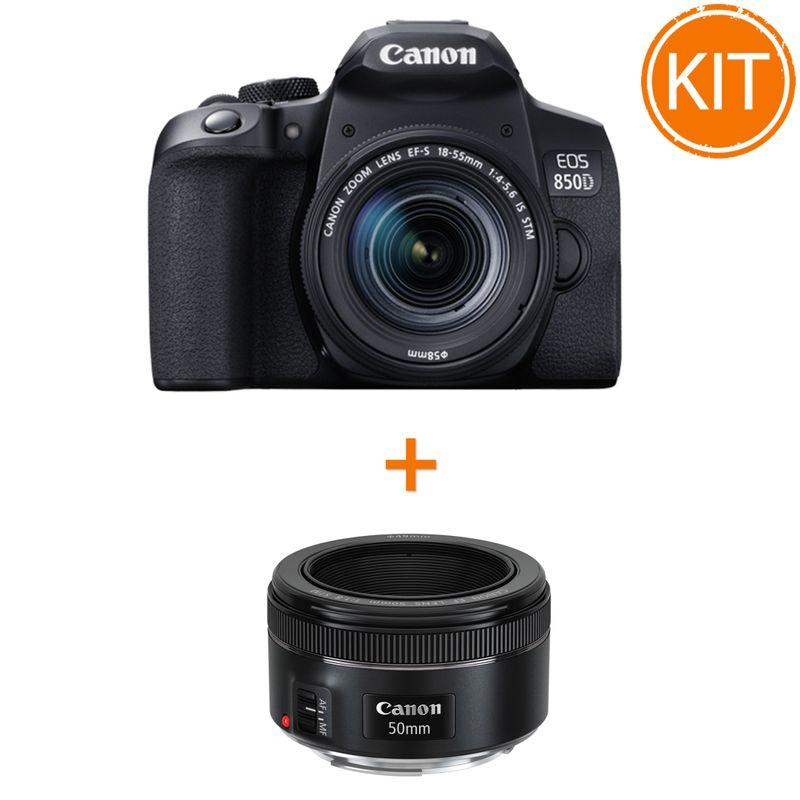 Kit-Canon-EOS-850D-cu-Obiectiv-EF-S-18-55mm-F3.5-5.6-IS-STM---Bonus-Obiectiv-Foto-Canon-EF-50mm-F1.8-STM