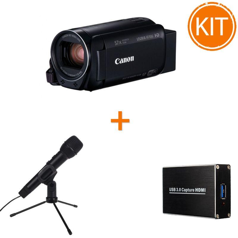 Kit-Live-Streaming-Starter-Canon-HF-R86---Placa-de-Captura---Microfon-USB