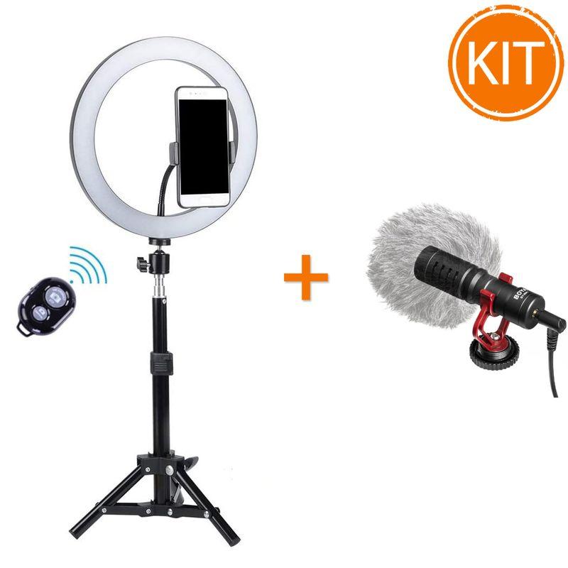 Vlog-Pack-Lampa-Circulara-LED-cu-Microfon-Boya-BY-MM1