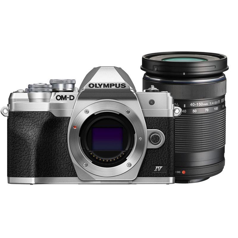Olympus-OM-D-E-M10-Mark-IV-Silver-Kit-cu-Obiectiv-14‑150mm-F4‑5.6-II-Black