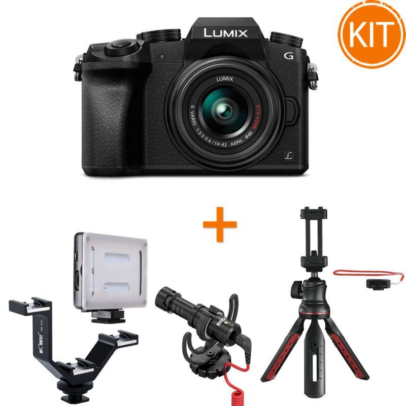 Kit-Vlogging-Panasonic-Lumix-DMC-G7---14-42mm-f3.5-5.6-II-MEGA-OIS---Microfon---Lampa---Minitrepied---Bracket